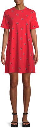 McQ Babydoll Bird-Print Tee Dress