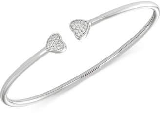 Wrapped Diamond Heart Bangle Bracelet (1/6 ct. t.w.) in Sterling Silver