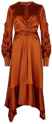 Jonathan Simkhai Burnt Orange Satin Midi Dress