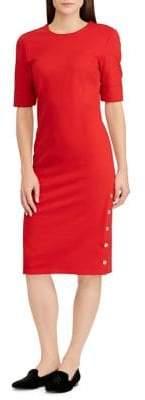 Lauren Ralph Lauren Petite Button-Trimmed Ponte Sheath Dress