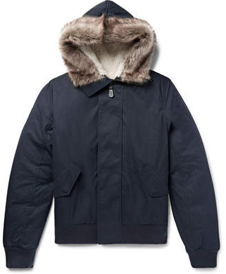 Yves Salomon Shearling-Trimmed Cotton-Blend Shell Hooded Jacket