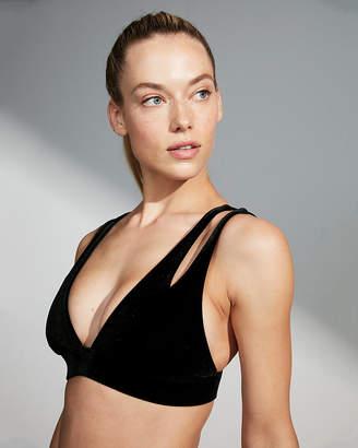 Express Velvet Cut-Out Plunge Bikini Top