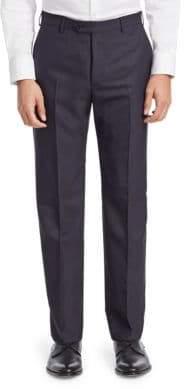 Emporio Armani Navy Chevron Wool Trousers