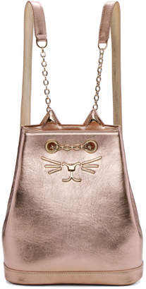 Charlotte Olympia Pink Metallic Petit Feline Backpack
