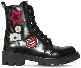 Ermanno Scervino Vintage Effect Leather Ankle Boots