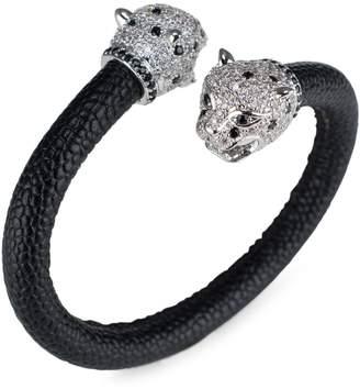 Kenneth Jay Lane Cz By Silvertone & Cubic Zirconia Leopard Cuff Bracelet