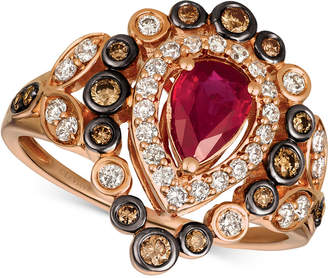 LeVian Le Vian Strawberry & Nude Passion Ruby (5/8 ct. t.w.) & Diamond (5/8 ct. t.w.) Ring in 14k Rose Gold