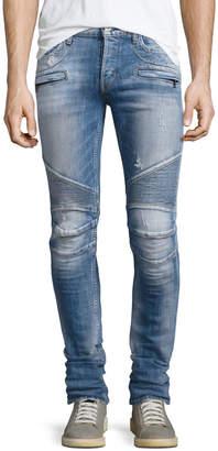 Hudson Men's Blinder Biker Distressed Skinny Jeans, Thrash Medium Blue