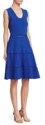 Lela Rose Women's Crochet Detail Knit A-Line Dress - Cobalt - Size Medium