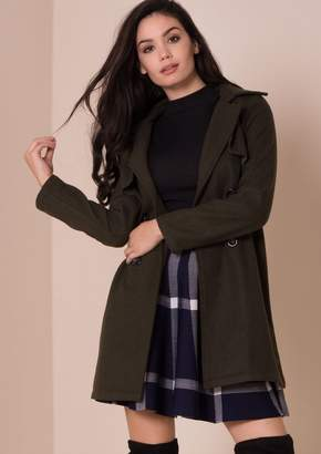 Missy Empire Missyempire Lola Khaki Tailored Wool Coat