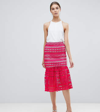 Asos Tall TALL Premium Occasion Lace Pep Hem Midi Skirt Co-Ord