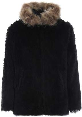 Saint Laurent Fake Fur Parka Raccoon Collar