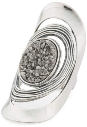 Made In Israel Sterling Silver Platinum Drusy Knuckle Ring
