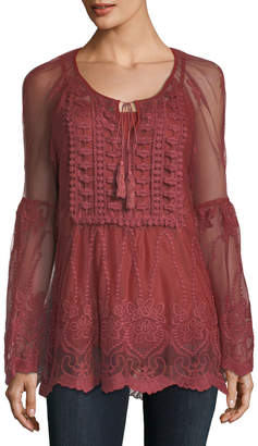 Lumie Embroidered Bell-Sleeve Peasant Blouse