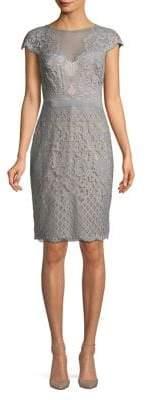 Tadashi Shoji Lace and Mesh Capsleeve Sheath Dress