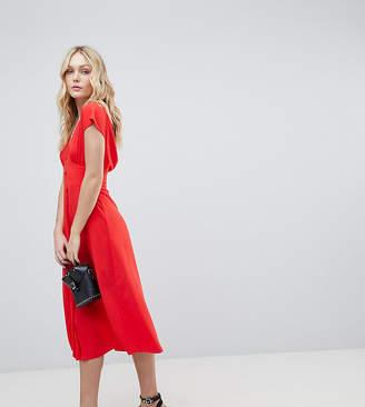 Asos Tall DESIGN Tall button through midi dress with bow back detail