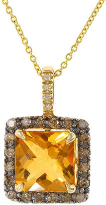 Effy Fine Jewelry 14K 3.11 Ct. Tw. Diamond & Citrine Necklace
