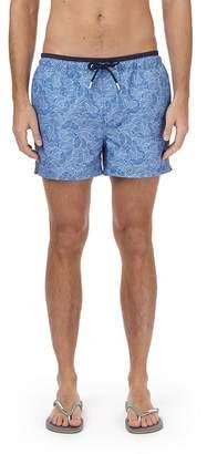 Burton Blue Fish Print Regular Pull On Swim Shorts