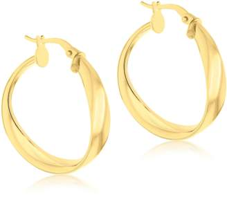 2e728ddcc 9ct Yellow Gold Twisted Tube Creole Hoops Earrings