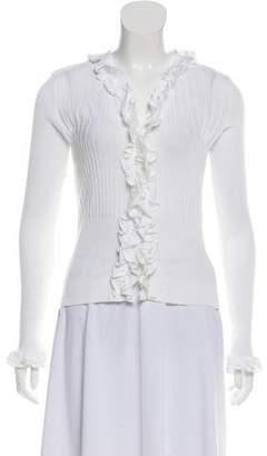 Anne Fontaine Lightweight Ruffled Knit Cardigan