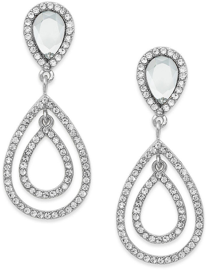 Charter Club Earrings, Silver-Tone Crystal Large Double Teardrop Clip Earrings