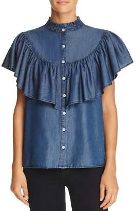 Aqua Ruffled Chambray Western Shirt - 100% Exclusive