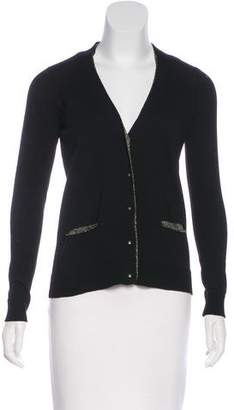 Milly Metallic-Trimmed Merino Wool Cardigan