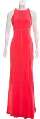 J. Mendel Silk-Paneled Evening Dress