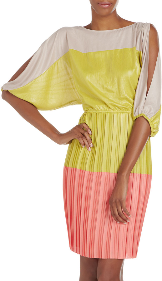 BCBGMAXAZRIA Colorblock Dolman-Sleeve Dress