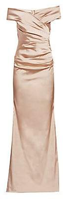 Teri Jon by Rickie Freeman Women's Off-The-Shoulder Ruched Satin Gown