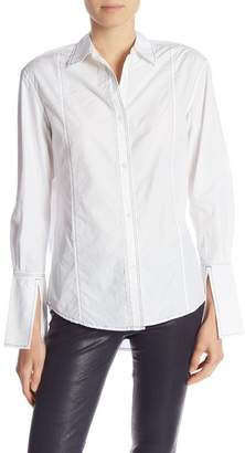 Frame Paneled Boyfriend Blouse