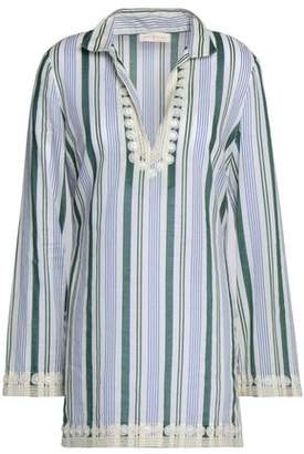 Tory Burch Bead-Embellished Striped Cotton-Gauze Coverup