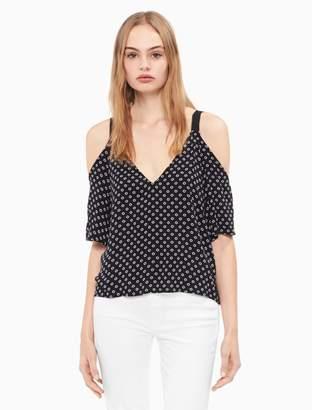 Calvin Klein printed cold shoulder top