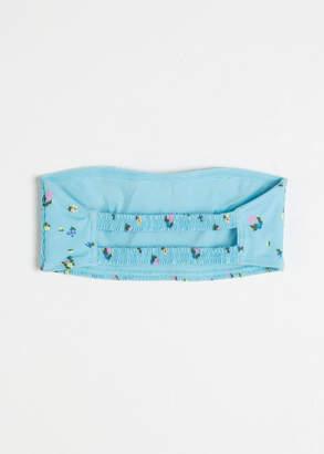 Crinkle Floral Bandeau Bikini Top