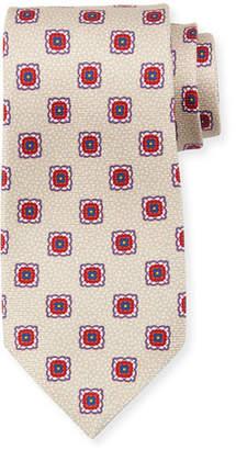 Kiton Fancy Medallion Silk Tie, Beige