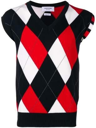 Thom Browne 4-Bar Argyle V-Neck Pullover Vest