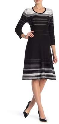 Nine West Stripe A-Line Sweater Dress