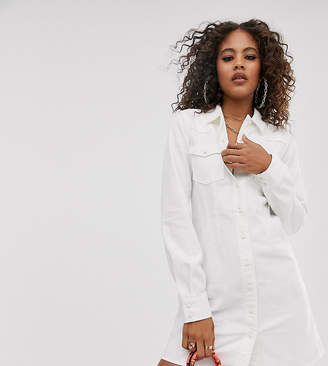 Asos Tall DESIGN Tall denim fitted western shirt dress in white