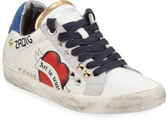 Zadig & Voltaire Zadig Used Embellished Leather Sneakers