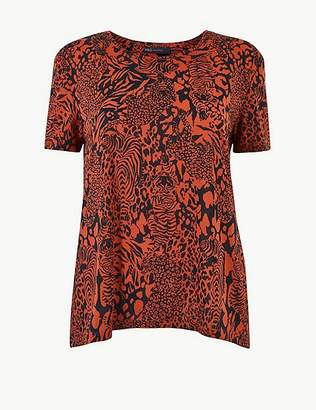 Marks and Spencer Animal Print Round Neck Relaxed Fit T-Shirt