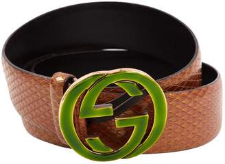 Gucci Interlocking Buckle Brown Leather Belts