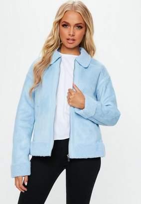 Missguided Blue Faux Fur Trim Aviator Jacket