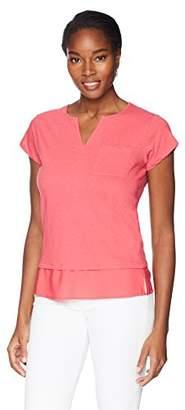 Caribbean Joe Women's Short Sleeve Chiffon Layer Top