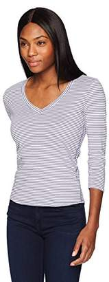 Three Dots Women's Montauk Stripe Mid Tight v-Neck Shirt