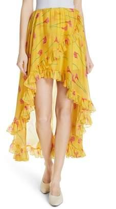 Caroline Constas Adelle Ruffle Trim High\u002FLow Silk Skirt