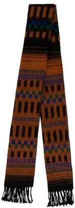 Fendi Patterned Knit Fringe-Trimmed Scarf
