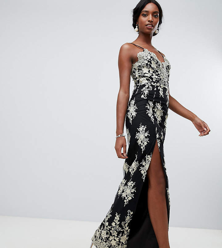 Chi Chi London Tall scalloped plunge maxi prom dress with gold embroidery in black