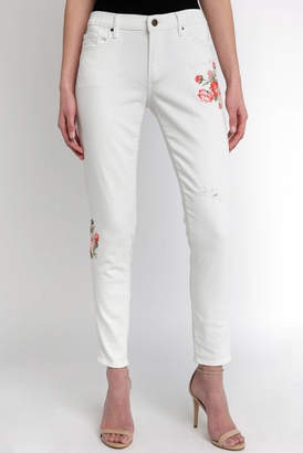 Driftwood White Boyfriend Jean With Embroidery