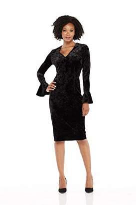London Times Women's Bell Sleeve V Neck Midi Velvet Sheath Dress
