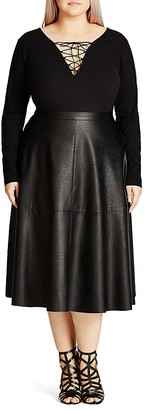 City Chic Faux Leather Flirt Skirt $69 thestylecure.com